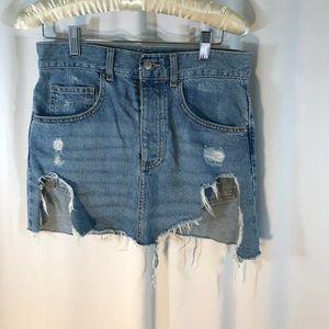 Distressed Forever 21 Denim Skirt